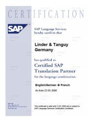 SAP Übersetzung Deutsch Französisch| Linder & Tanguy Sprachen Service - SAP-Certfication