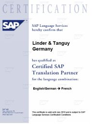 SAP Übersetzung Deutsch Französisch| Linder & Tanguy Sprachen Service - SAP-Certfication2